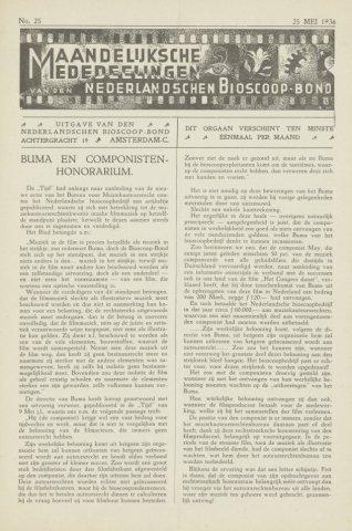 Ledenbulletin en maandelijkse mededelingen 1936-05-25