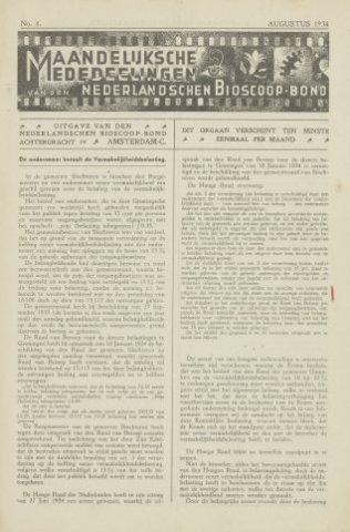 Ledenbulletin en maandelijkse mededelingen 1934-08-01