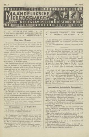 Ledenbulletin en maandelijkse mededelingen 1934