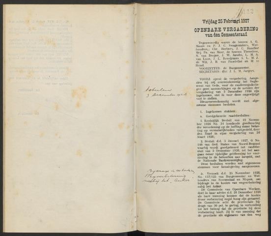 Steenbergen: Notulen gemeenteraad, 1920-1996 1927-01-01