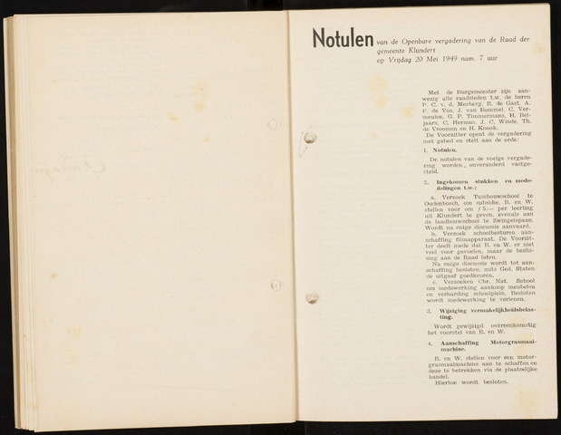 Klundert: Notulen gemeenteraad, mei 1933-1996 1949