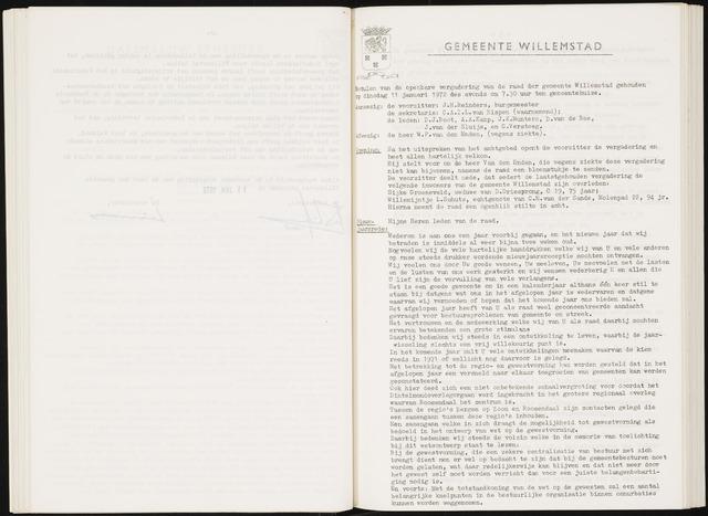 Willemstad: Notulen gemeenteraad, 1927-1995 1972-01-01