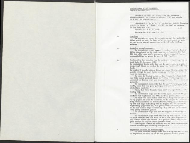 Nieuw-Vossemeer: Notulen gemeenteraad, 1957-1996 1983-01-01