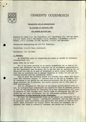Oudenbosch: Notulen gemeenteraad, 1939-1994 1966-01-01
