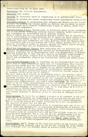 Rijsbergen: Notulen gemeenteraad, 1940-1996 1954