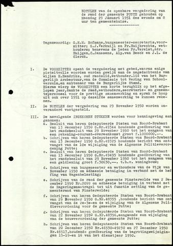 Putte: Notulen gemeenteraad, 1928-1996 1951-01-01