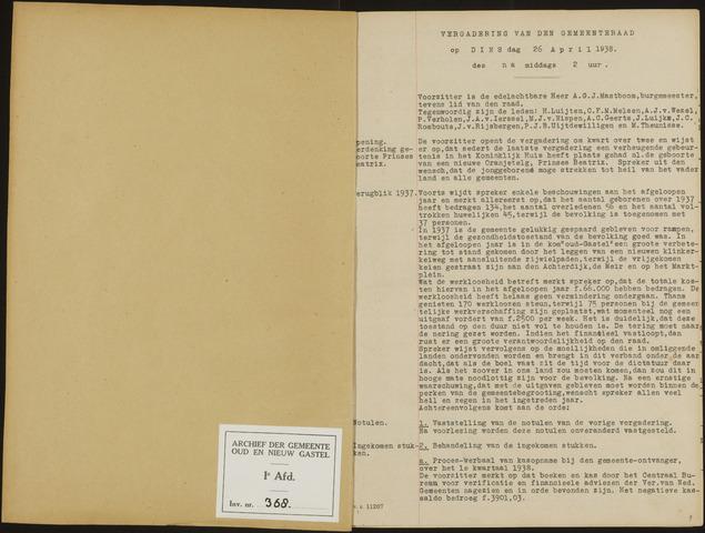 Oud en Nieuw Gastel: Notulen gemeenteraad, 1938-1980 1938-01-01