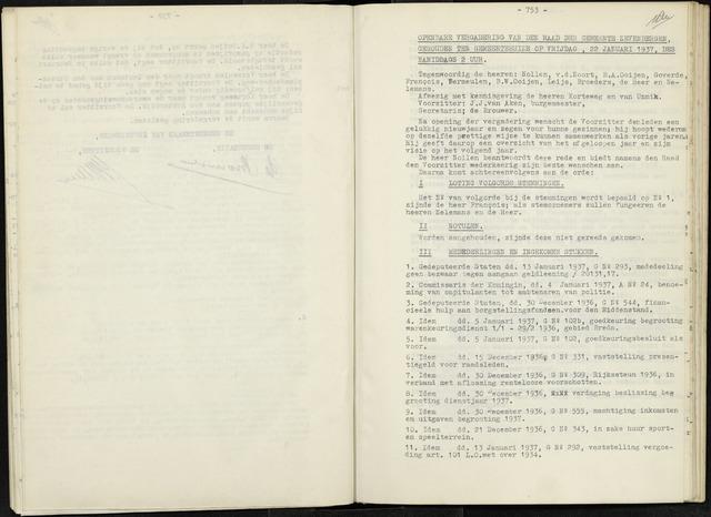 Zevenbergen: Notulen gemeenteraad, 1930-1996 1937-01-01