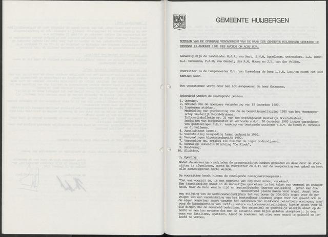 Huijbergen: Notulen gemeenteraad 1935-1996 1981-01-01