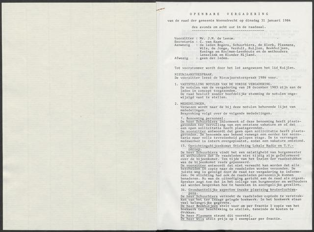 Woensdrecht: Notulen gemeenteraad, 1922-1996 1984-01-01