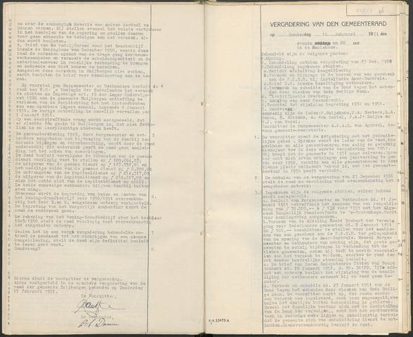 Huijbergen: Notulen gemeenteraad 1935-1996 1951-01-01