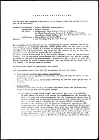 Woensdrecht: Notulen gemeenteraad, 1922-1996 1995-01-01