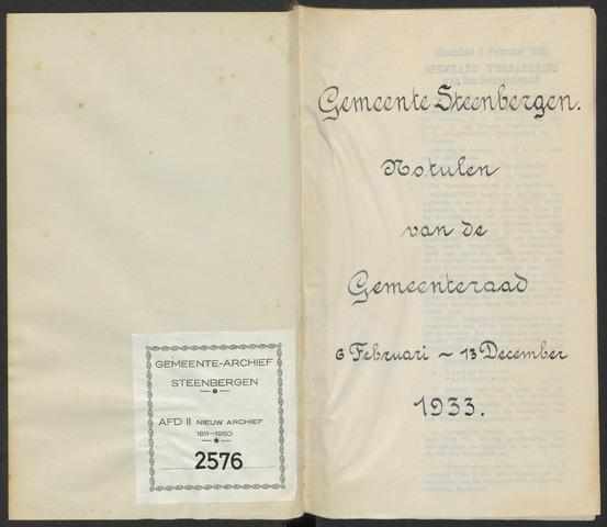 Steenbergen: Notulen gemeenteraad, 1920-1996 1933-01-01