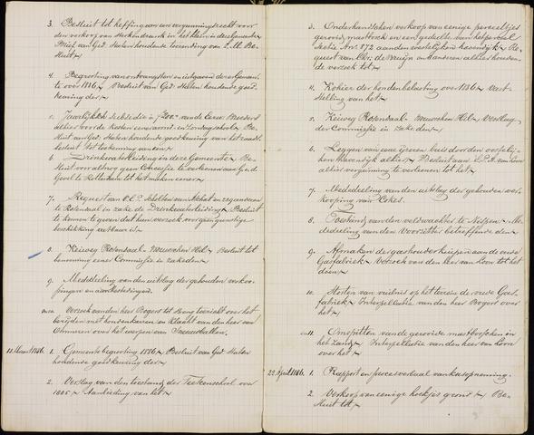 Roosendaal: Inhoudsopgaven notulen, 1849-1903 1886