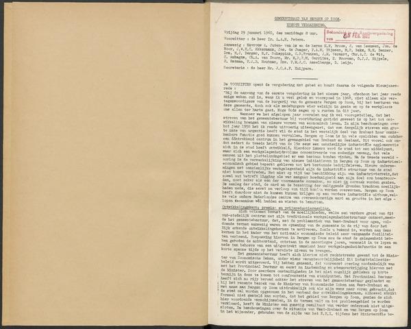 Bergen op Zoom: Notulen gemeenteraad, 1926-1996 1960-01-01
