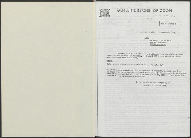 Bergen op Zoom: Notulen gemeenteraad, 1926-1996 1979-01-01
