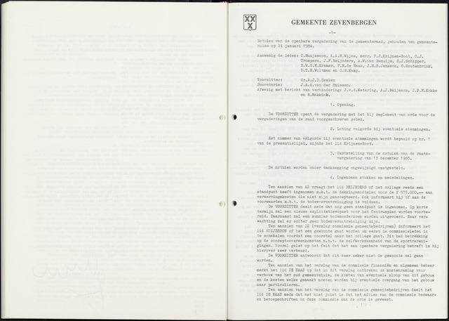 Zevenbergen: Notulen gemeenteraad, 1930-1996 1984-01-01
