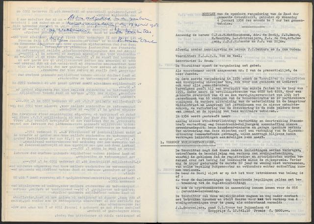 Ossendrecht: Notulen gemeenteraad, 1920-1996 1956