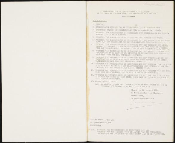 Klundert: Notulen gemeenteraad, mei 1933-1996 1960