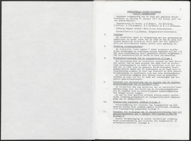 Nieuw-Vossemeer: Notulen gemeenteraad, 1957-1996 1977-01-01