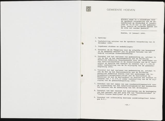 Hoeven: Notulen gemeenteraad, 1928-1996 1990-01-01