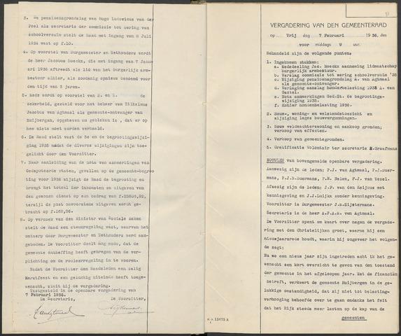 Huijbergen: Notulen gemeenteraad 1935-1996 1936-01-01
