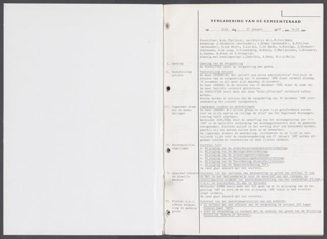 Rucphen: Notulen gemeenteraad, dec. 1949-1998 1987-01-01