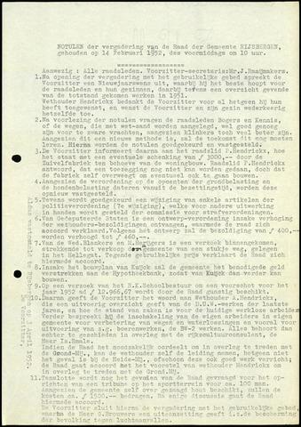 Rijsbergen: Notulen gemeenteraad, 1940-1996 1952