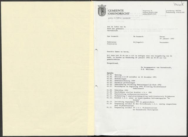 Ossendrecht: Notulen gemeenteraad, 1920-1996 1992