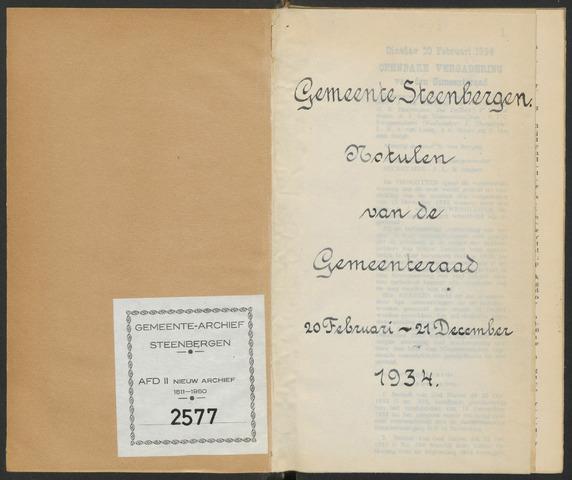 Steenbergen: Notulen gemeenteraad, 1920-1996 1934-01-01