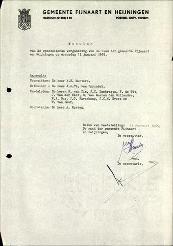 Fijnaart en Heijningen: notulen gemeenteraad, 1934-1995 1965