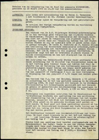 Rijsbergen: Notulen gemeenteraad, 1940-1996 1949