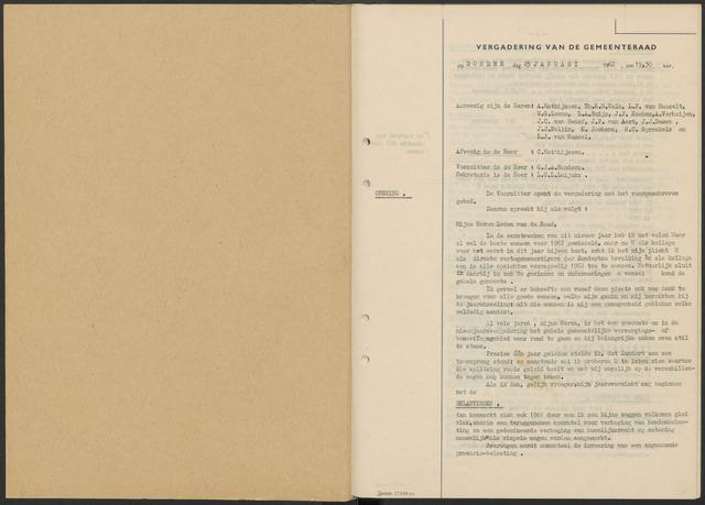 Zundert: Notulen gemeenteraad, 1934-1988 1962-01-01