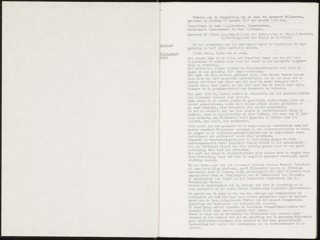 Willemstad: Notulen gemeenteraad, 1927-1995 1971-01-01