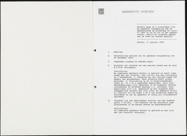 Hoeven: Notulen gemeenteraad, 1928-1996 1995-01-01