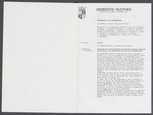 Rucphen: Notulen gemeenteraad, dec. 1949-1998 1993-01-01