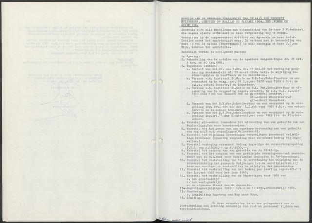 Huijbergen: Notulen gemeenteraad 1935-1996 1969-01-01