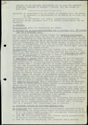 Putte: Notulen gemeenteraad, 1928-1996 1962-01-01