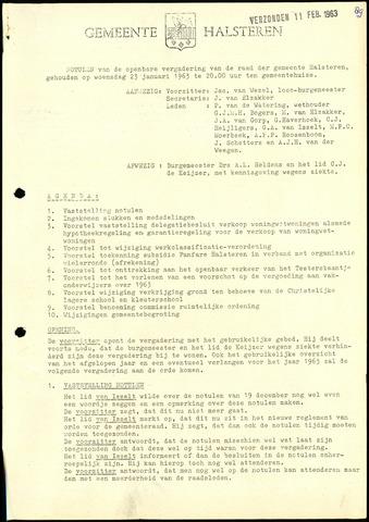 Halsteren: Notulen gemeenteraad, 1960-1996 1963