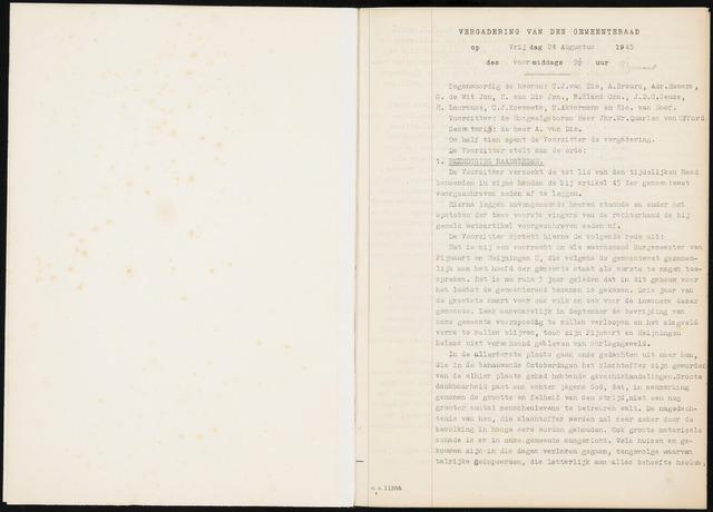 Fijnaart en Heijningen: notulen gemeenteraad, 1934-1995 1945