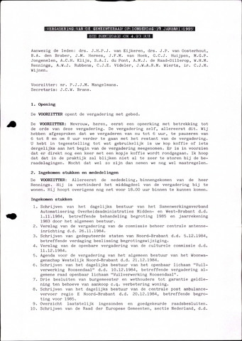 Oudenbosch: Notulen gemeenteraad, 1939-1994 1985-01-01