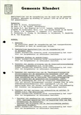 Klundert: Notulen gemeenteraad, mei 1933-1996 1994