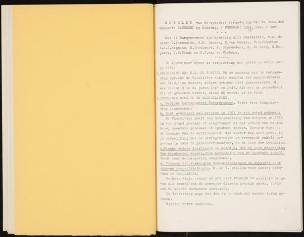 Klundert: Notulen gemeenteraad, mei 1933-1996 1952