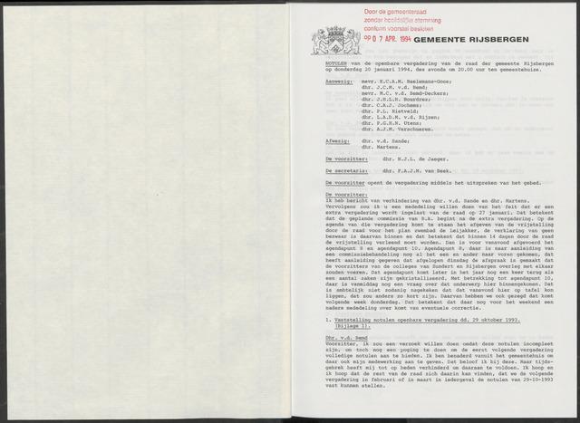 Rijsbergen: Notulen gemeenteraad, 1940-1996 1994