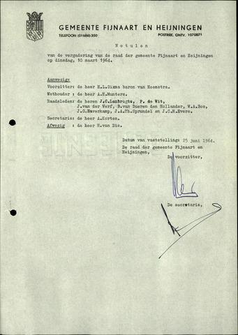 Fijnaart en Heijningen: notulen gemeenteraad, 1934-1995 1964