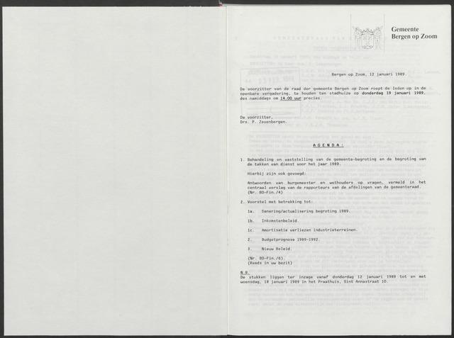Bergen op Zoom: Notulen gemeenteraad, 1926-1996 1989-01-01