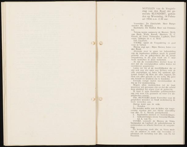 Klundert: Notulen gemeenteraad, mei 1933-1996 1934