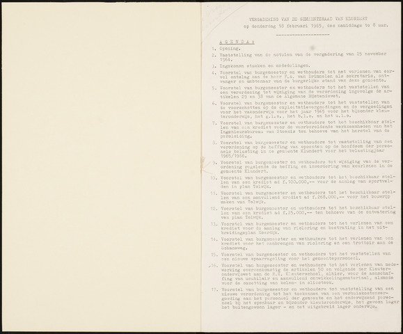 Klundert: Notulen gemeenteraad, mei 1933-1996 1965