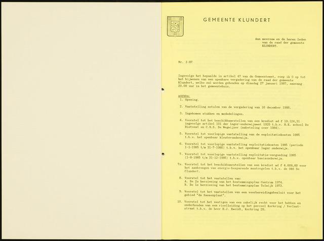 Klundert: Notulen gemeenteraad, mei 1933-1996 1987