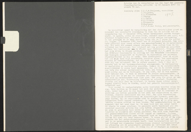 Standdaarbuiten: Notulen gemeenteraad, 1937-1996 1947-01-01